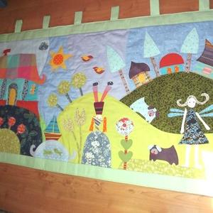 Tornácos házas, kerti tavacskás, tündéres, manós falvédő (160 x 70 cm) (Sarahuncutsagai) - Meska.hu