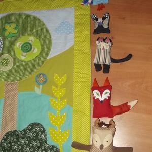 ÚJDONSÁG! Erdei állatos falvédő zsebekkel, kabalafigurákkal 160x80 cm (Sarahuncutsagai) - Meska.hu