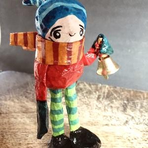 Manó - 06, Otthon & Lakás, Karácsony & Mikulás, Karácsonyfadísz, Papírművészet, Festészet, 100%-ban kézzel készült vidám papírmasé manó, amit bátran akaszthatsz karácsonyfára, ablakba, ajtóra..., Meska