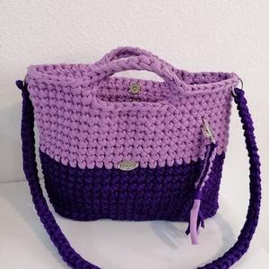 Lila horgolt táska, Táska & Tok, Vállon átvethető táska, Kézitáska & válltáska, Horgolás, Meska
