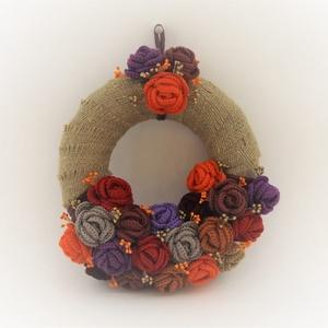 Horgolt rózsákkal díszített kopogtató , Dekoráció, Otthon, lakberendezés, Ajtódísz, kopogtató, Dísz, Horgolás,