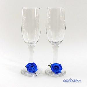 Esküvői pezsgős pohár szett, Esküvő, Esküvői dekoráció, Varrás, Szatén rózsával díszített esküvői pezsgős pohár szett (2 db.) Kérhető más színben, vagy színkombiná..., Meska