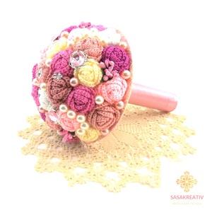 \'CROCHETED ROSES\' csokor közepes, Dekoráció, Otthon & lakás, Csokor, Esküvő, Esküvői csokor, Horgolás, Virágkötés, A horgolt örökcsokor kitűnő választás lehet szinte minden alkalomra! Adható születésnapra, névnapra,..., Meska
