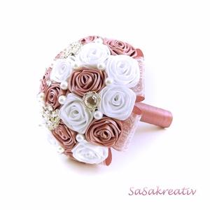 \'SATIN RIBBON ROSES\' csokor KÖZEPES, Esküvő, Esküvői csokor, Otthon & lakás, Dekoráció, Virágkötés, Az örökcsokor kitűnő választás minden alkalomra, egyedi és maradandó kézműves ajándék. Adható szület..., Meska