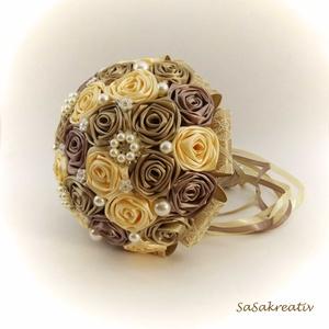 \'SATIN RIBBON ROSES\' csokor KÖZEPES, Esküvő, Esküvői csokor, Virágkötés, Az örökcsokor kitűnő választás minden alkalomra, egyedi és maradandó kézműves ajándék. Adható szület..., Meska