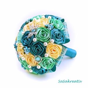 \'SATIN RIBBON ROSES\' csokor KÖZEPES, Dekoráció, Otthon & lakás, Csokor, Esküvő, Esküvői csokor, Virágkötés, Az örökcsokor kitűnő választás minden alkalomra, egyedi és maradandó kézműves ajándék. Adható szület..., Meska