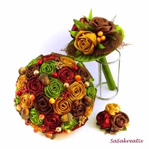 Esküvői szett, Esküvő, Esküvői csokor, Esküvői ékszer, Férfiaknak, Vőlegényes, Varrás, Virágkötés, Komplett esküvői szett, mely tartalmaz menyasszonyi csokrot, dobócsokrot és vőlegénykitűzőt.\nSzámtal..., Meska