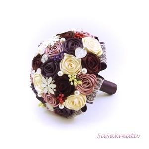 \'SATIN RIBBON ROSES\' csokor KÖZEPES, Esküvő, Esküvői csokor, Otthon & lakás, Dekoráció, Csokor, Virágkötés, Az örökcsokor kitűnő választás minden alkalomra, egyedi és maradandó kézműves ajándék. Adható szület..., Meska