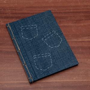 Farmer hatású, A5 japán kötésű notesz, napló, jegyzetelő, Művészet, Textil, Egyéb, Könyvkötés, Papírművészet, A5 napló, emlékkönyv, jegyzetelő sima, üres lapokkal. Papír és vászon kombinálásával készült.\n\nA kem..., Meska