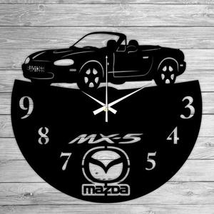 MAZDA MX5 bakelit falióra, Lakberendezés, Otthon & lakás, Falióra, óra, Mindenmás, Újrahasznosított alapanyagból készült termékek, Ajándékozz egyedi bakelit órát szeretteidnek! \n\nA csomag tartalma:\n1 db a választott téma szerinti b..., Meska
