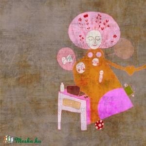 Nőideálom 2011 - illusztráció, digitális festmény, Otthon & lakás, Dekoráció, Kép, Képzőművészet, Illusztráció, Fotó, grafika, rajz, illusztráció, Festészet, 25x25 cm-es print 250 g/m2-es matt műnyomópapíron.\nA papír mérete 29x29cm, a fehér sávot le lehet vá..., Meska