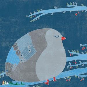 A boldogság kék madara - nyomat, illusztráció, Otthon & lakás, Dekoráció, Kép, Képzőművészet, Illusztráció, Fotó, grafika, rajz, illusztráció, Festészet, 25x25 cm-es print 250 g/m2-es matt műnyomópapíron.\nA papír mérete 29x29cm, a fehér sávot le lehet vá..., Meska