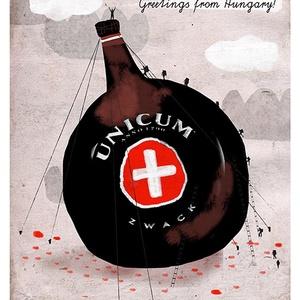 Unicum - Greetings from Hungary, Otthon & lakás, Táska, Divat & Szépség, Dekoráció, Képzőművészet, Grafika, Magyar motívumokkal, A4-es print 250 g/m2-es matt műnyomópapíron. A papír mérete 23x32cm, a fehér sávot le lehet vágni, v..., Meska