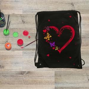 Szerelmes Gymbag hátizsák, Táska & Tok, Hátizsák, Gymbag, Festett tárgyak, Szerelmes Gymbag nem csak Valentin napra :-) Egy csipet szerelemmel készült ez a táska, amibe aztán ..., Meska