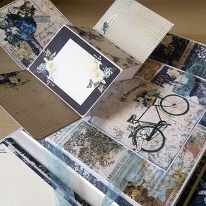 Valami Kék esküvői album, Album & Fotóalbum, Emlék & Ajándék, Esküvő, Könyvkötés, Papírművészet, Különleges Pop Up dobozalbum 24,5x24,5x7,5 cm-es méretben. Méretéből adódóan rengeteg kép fér bele, ..., Meska