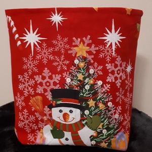 Mikulás tasak - hóember-karácsonyfa mintás, Otthon & Lakás, Karácsony & Mikulás, Mikulás, Varrás, Vastagabb vászonból készült mikulás, vagy karácsonyi ajándék tasak. \nHátul és a bélése piros pamutvá..., Meska