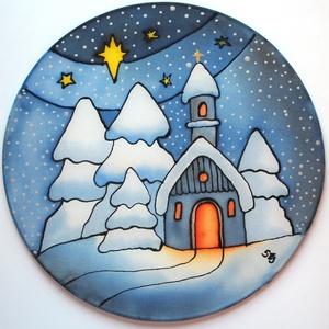 Karácsonyi havas templom selyem ablakkép mandala, Otthon & lakás, Dekoráció, Ünnepi dekoráció, Karácsony, Karácsonyi dekoráció, Karácsonyfadísz, Festészet, Selyemfestés, Különleges, ünnepi hangulatot árasztó, selyem ablakkép. Kontúr technikával készült selyemkép. Az abl..., Meska