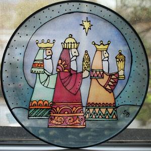 Három királyok karácsonyi selyem ablakkép mandala, Otthon & Lakás, Karácsony & Mikulás, Karácsonyi dekoráció, Festészet, Selyemfestés, Különleges, ünnepi hangulatot árasztó, selyem ablakkép. Kontúr technikával készült selyemkép. Az abl..., Meska