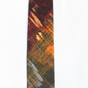 Férfi selyem nyakkendő, kézzel festett szinkavalkád, szálka mintás, Férfiaknak, Húsvéti díszek, Ünnepi dekoráció, Dekoráció, Otthon & lakás, Hagyományőrző ajándékok, Esküvő, Selyemfestés, Varrás, Egyedi tervezésű, kiváló minőségű anyagból (selyem shantung) és speciális (viaszbatik) festési techn..., Meska