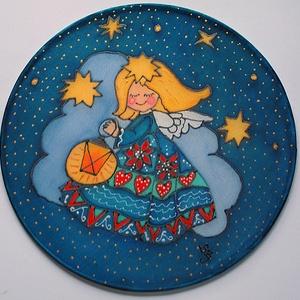 Karácsonyi angyal lámpással selyem ablakkép mandala, Otthon & Lakás, Karácsony & Mikulás, Karácsonyi dekoráció, Festészet, Selyemfestés, Különleges, ünnepi hangulatot árasztó, selyem ablakkép. Kontúr technikával készült selyemkép. Az abl..., Meska