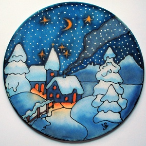 Karácsonyi havas templom ablakkép, Dekoráció, Karácsonyi, adventi apróságok, Ünnepi dekoráció, Karácsonyi dekoráció, Festészet, Selyemfestés, Különleges, ünnepi hangulatot árasztó, selyem ablakkép. Kontúr technikával készült selyemkép. Az ab..., Meska