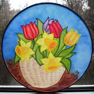 Tulipán, nárcisz kosár selyem mandala ablakkép (Selyemtunder) - Meska.hu
