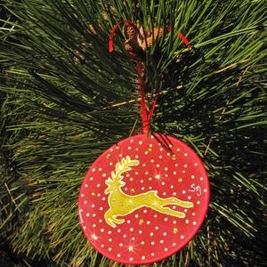 Kristályokkal díszített rénszarvas karácsonyfadísz mandala , Karácsony & Mikulás, Karácsonyfadísz, Selyemfestés, Különleges, ünnepi hangulatot árasztó, kézzel festett selyem mandala, rávasalható kristályokkal dísz..., Meska