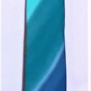 Türkiz-szürkés kék-smaragd csíkos színátmenetes férfi nyakkendő (Selyemtunder) - Meska.hu