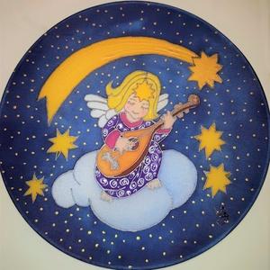 Angyali muzsikal selyem ablakkép mandala, Karácsony & Mikulás, Karácsonyi dekoráció, Különleges, ünnepi hangulatot árasztó, selyem ablakkép. Kontúr technikával készült selyemkép. Az abl..., Meska
