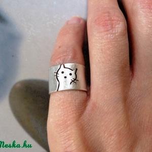 Cica ezüst gyűrű (széles, matt) - Meska.hu