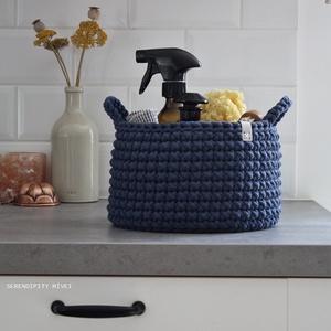 Kék  F ü l e s  - Nagy tároló, Otthon & Lakás, Tárolás & Rendszerezés, Tárolókosár, Horgolás, Prémium minőségű pamut fonalból horgolt tároló, melyet tehetsz fürdőszobába, gyerekszobába, nappalib..., Meska