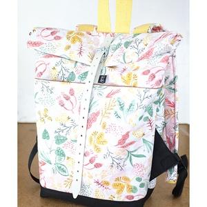 Serin növény mintás  zsebes hátizsák, Táska, Divat & Szépség, Táska, Hátizsák, Varrás, Újrahasznosított alapanyagból készült termékek, Nagyon szép növény mintás rózsaszínes vászon anyagból készült kívül belül zsebes hátizsák..\nA táska ..., Meska