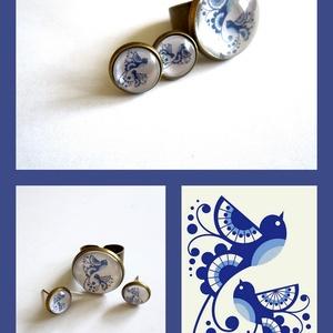 A boldogság kék madara cabochon, üveglencsés gyűrű és medál , Ékszer, Ékszerszett, Ékszerkészítés, Üvegművészet, \nGyűrű, állítható, lencsemérete 2  cm, a bedugós füli 1 cm. A  kép szép éles magas minőségű. A szett..., Meska
