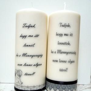 Emlék gyertya (esküvőre), Esküvő, Dekoráció, Gyertya & Gyertyatartó, Gyertya-, mécseskészítés, Mindenmás, 8x20 cm magas natúr fehér színű gyertya szeretteink emlékére. \nA felirat, betűtípus, díszítés (csipk..., Meska