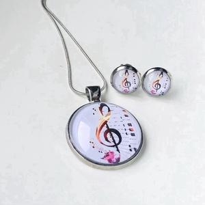 Violinkulcsos füli és medál, Ékszer, Nyaklánc, Medálos nyaklánc, Ékszerkészítés, Ezüst medálalapba helyeztem a fehér hátterű violinkulcsos  képet. A kép és a medálalap belső mérete ..., Meska