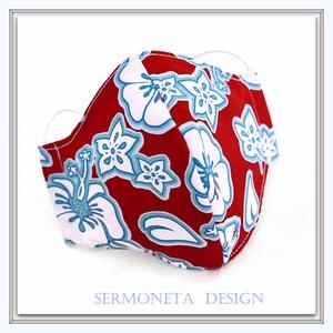 Piros fehér kék virágos  arcmaszk, szájmaszk, Táska, Divat & Szépség, Szépség(ápolás), Maszk, szájmaszk, NoWaste, Varrás, Elővigyázatosságból, egymás védelme érdekében továbbra is hordjatok maszkot, ahol sok ember van, vag..., Meska