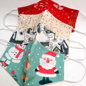 Karácsonyi / Téli  maszk csomag, 4 db-os szájmaszk készlet, Maszk, Arcmaszk, Varrás, Megálmodtam és elkészítettem :)\n2 rétegű, mosható ünnepi, szezonális maszk csomag.\nA csomag tartalma..., Meska