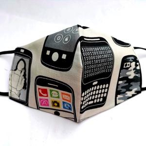 Különleges  maszk - mobiltelefonos szájmaszk, Maszk, Arcmaszk, Női, Varrás, Megálmodtam és elkészítettem :)\n2 rétegű, mosható trendi, elegáns, csajos maszk. \nKiváló minőségű de..., Meska