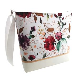 Bordó rózsás Női nyári vízálló táska - Fehér, arany és bordó színekben , Táska & Tok, Kézitáska & válltáska, Válltáska, Varrás, Meska