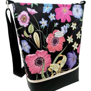 Elegáns női nagy táska - Kerti virágok, Táska & Tok, Kézitáska & válltáska, Válltáska, Varrás, Meska