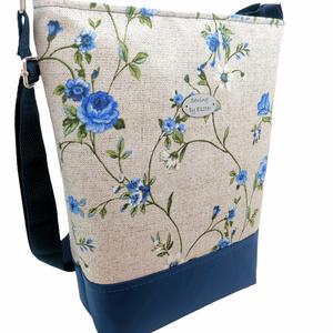 Női nagy táska - Bézs és kék  - Meska.hu