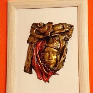 Paverpol arany női arckép 3D, Otthon & lakás, Dekoráció, Kép, Paverpol technikával készítettem ezt az arcot ábrázoló 3 dimenziós képet, amit gyöngyökkel is díszít..., Meska