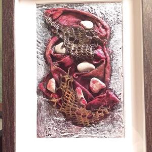 Csipkés paverpol kép 3D, Festmény vegyes technika, Festmény, Művészet, Festett tárgyak, Szobrászat, Paverpol technikával készítettem ezt a 3 dimenziós csipkével és kavicsokkal díszített képet.\nA kép e..., Meska