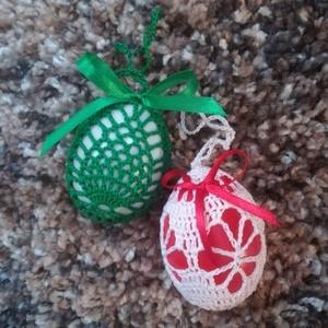 Horgolt húsvéti tojás, Otthon & Lakás, Dekoráció, Függődísz, Horgolás, Műanyag tojás körbehorgolva! Akasztóval ellátott,  selyemszatén szalaggal díszitett.\nMérete: 6,5 cm ..., Meska