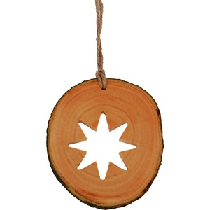 Karácsonyi dísz gömbfa szeletből - Nyolc ágú csillag - Meska.hu
