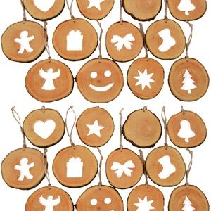 Gömbfa szeletből készült karácsonyi dísz szett - 24 db, Karácsonyfadísz, Karácsony & Mikulás, Otthon & Lakás, Famegmunkálás, A karácsonyfadíszekazon célunkattestesítik meg, hogy vásárlóink számára egy egyedi élményt nyújtsu..., Meska