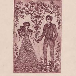 """Égig érő szerelem, Nászajándék, Emlék & Ajándék, Esküvő, Fotó, grafika, rajz, illusztráció, \""""Égig érő szerelem\"""" című rézkarc, a grafika mérete 10cmx15cm, amely A4-es méretű törtfehér lapon van..., Meska"""