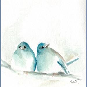 Kék madarak, Otthon & lakás, Dekoráció, Kép, Lakberendezés, Képzőművészet, Fotó, grafika, rajz, illusztráció, Kedves, egyedi vegyes technikával készült képek madarakról. Egy kép vagy egy sorozat ezekből a madár..., Meska