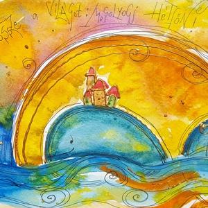 """Mosolyogj hétfőn!, Gyerek & játék, Dekoráció, Otthon & lakás, Kép, Képzőművészet, Fotó, grafika, rajz, illusztráció, Nem print!\n\""""Zavard össze a világot, mosolyogj hétfőn!\""""\nMindenkinek kell jusson egy Napos-mosolygós. ..., Meska"""