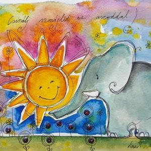 Szmájli az arcodon, Gyerek & játék, Dekoráció, Otthon & lakás, Kép, Fotó, grafika, rajz, illusztráció, Nem print!\nMindenkinek kell jusson egy Napos-mosolygós, ezért folyamatosan készítek Napocskás képeke..., Meska